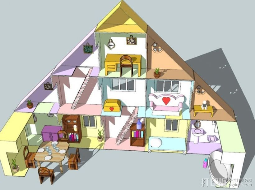 迷你玩具屋模型 3D打印模型渲染图