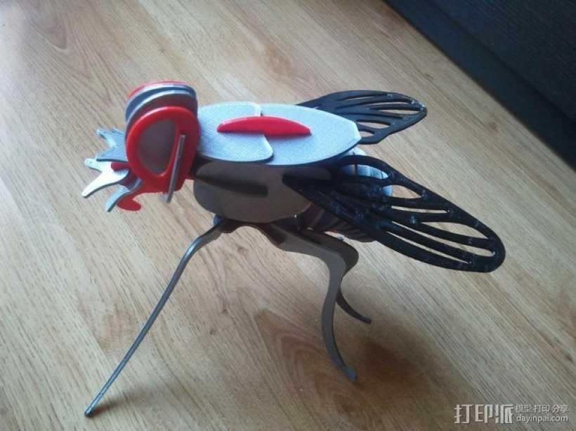 迷你苍蝇拼图模型 3D打印模型渲染图