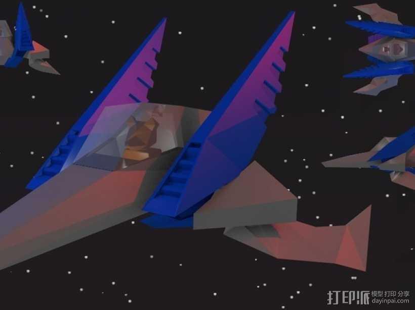 乐高Arwing宇宙飞船 3D打印模型渲染图