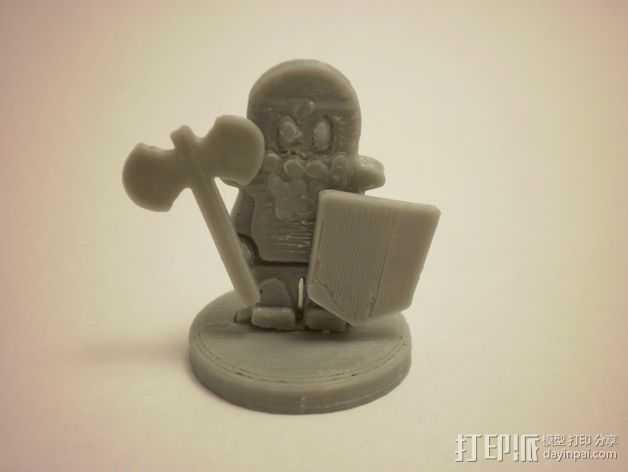 FlatMinis:矮人战士 3D打印模型渲染图