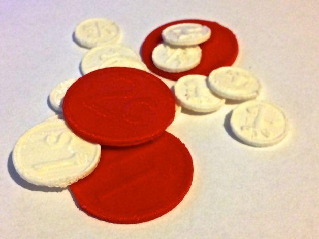 RPG游戏币 3D打印模型渲染图