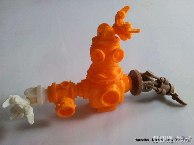 迷你机器人玩偶 3D打印模型渲染图