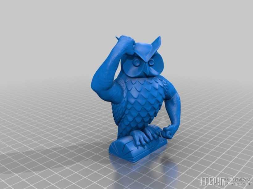 迷你猫头鹰 3D打印模型渲染图