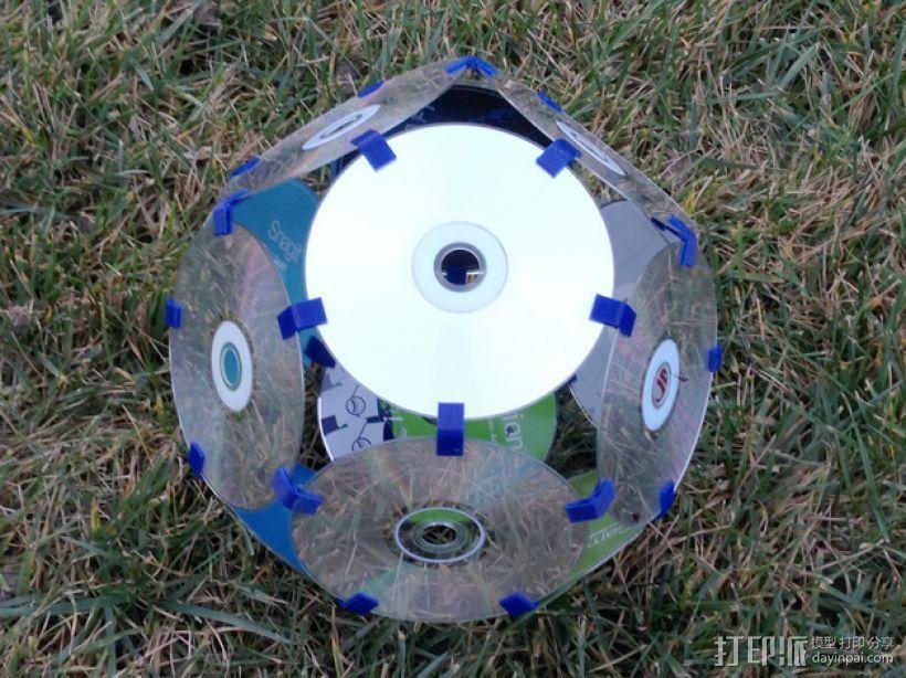 磁盘拼成的十二面体模型 3D打印模型渲染图