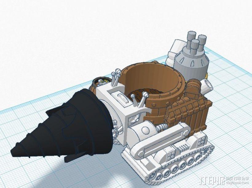 小矮人隧道掘进机模型 3D打印模型渲染图