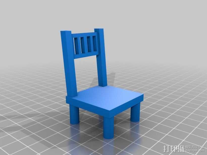森林家族玩偶桌椅模型 3D打印模型渲染图