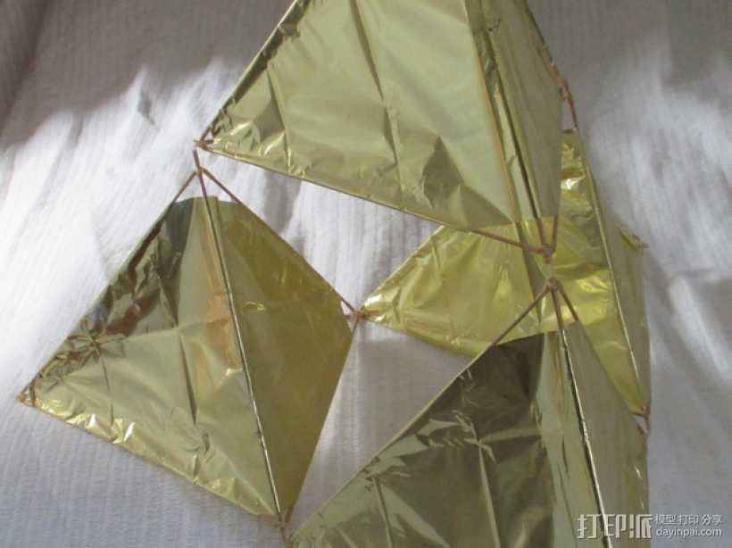 四角藻形风筝套件 3D打印模型渲染图