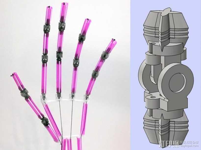 吸管做成的弹簧铰链 3D打印模型渲染图