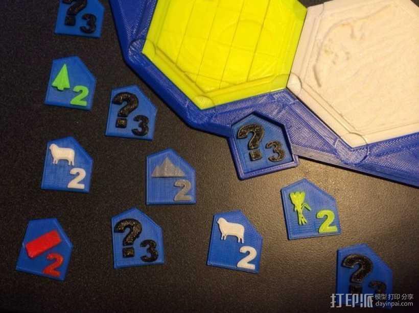 卡坦岛游戏瓦片模型 3D打印模型渲染图