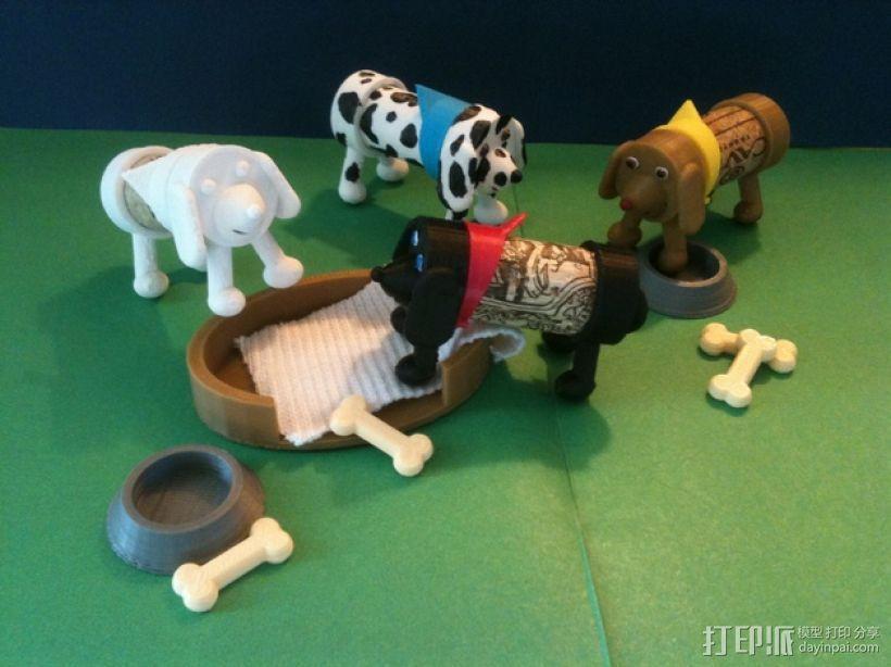 软木小狗零部件模型 3D打印模型渲染图