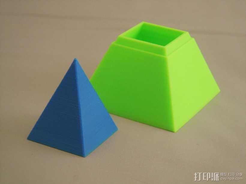 金字塔形储物盒 3D打印模型渲染图