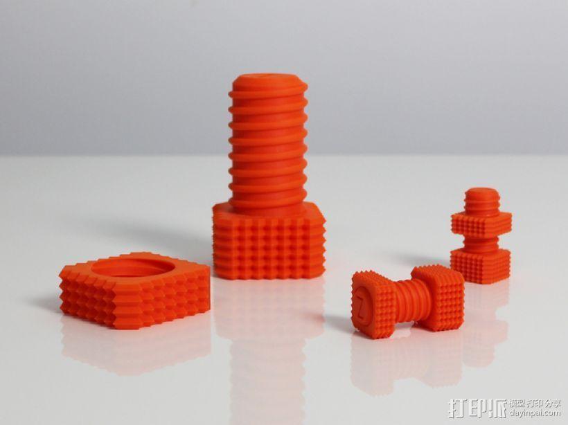 螺钉和螺母 3D打印模型渲染图