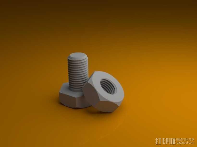 M3螺丝螺母 3D打印模型渲染图