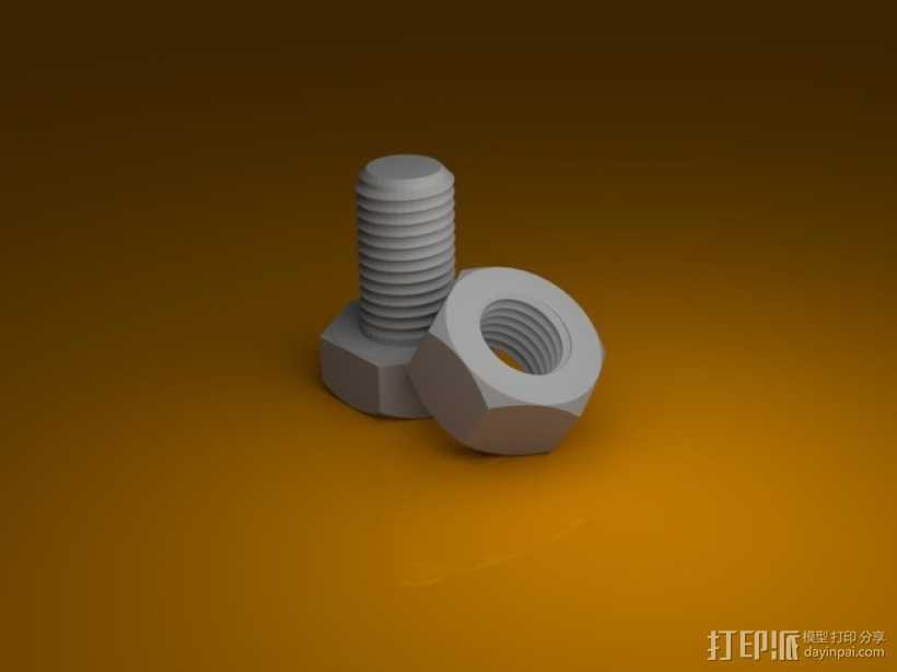 M8螺丝螺母 3D打印模型渲染图