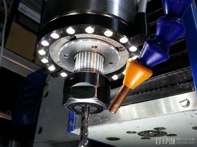 2200瓦主轴变频器 LED照明环 3D打印模型渲染图