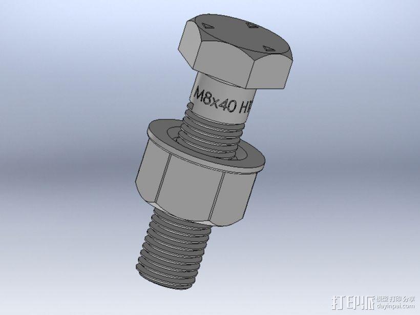 M8 x 40螺丝螺母  3D打印模型渲染图