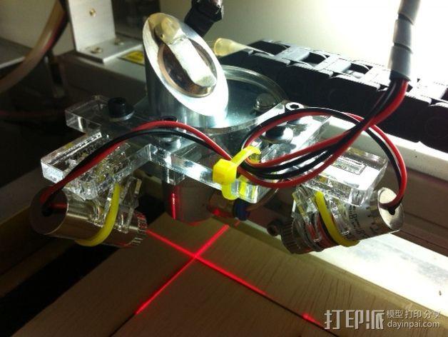 激光器十字线支架 3D打印模型渲染图