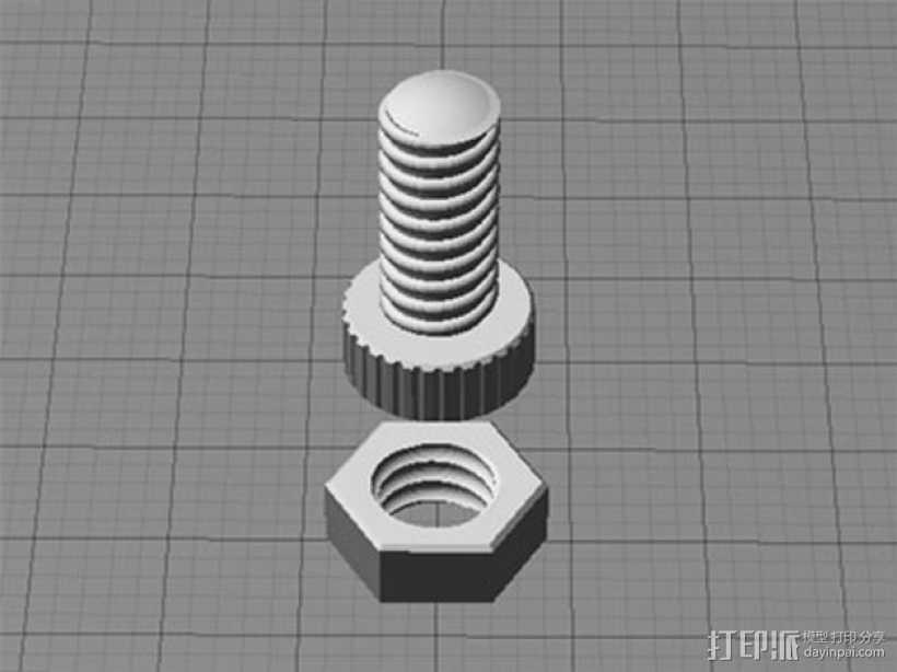 螺母螺丝 3D打印模型渲染图