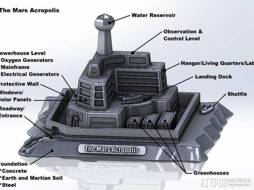 火星上的城堡 3D打印模型渲染图
