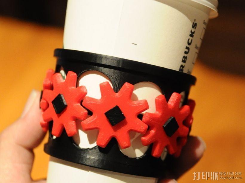 齿轮咖啡杯套 3D打印模型渲染图