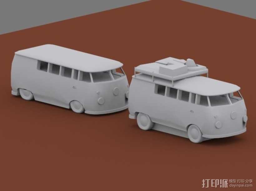 公共汽车 3D打印模型渲染图