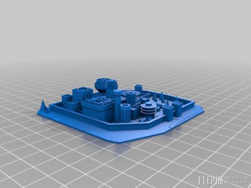 温特菲尔 城市模型 3D打印模型渲染图