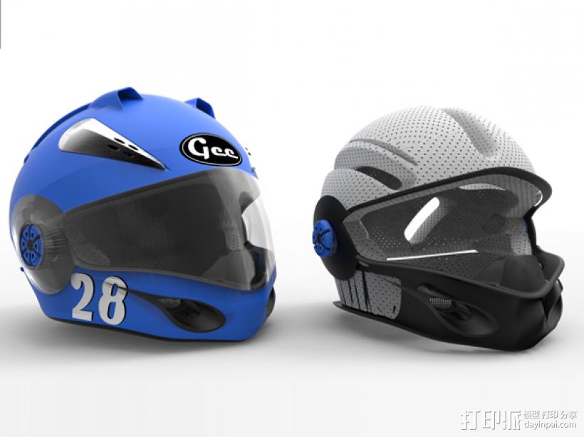 外壳全脸头盔 3D打印模型渲染图