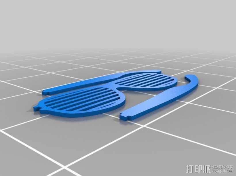 快门眼镜 3D打印模型渲染图