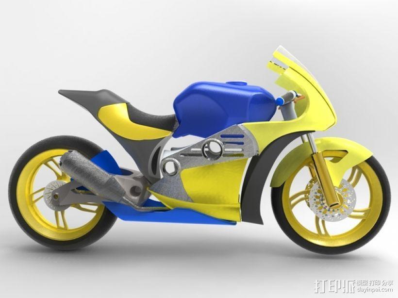 摩托车 3D打印模型渲染图