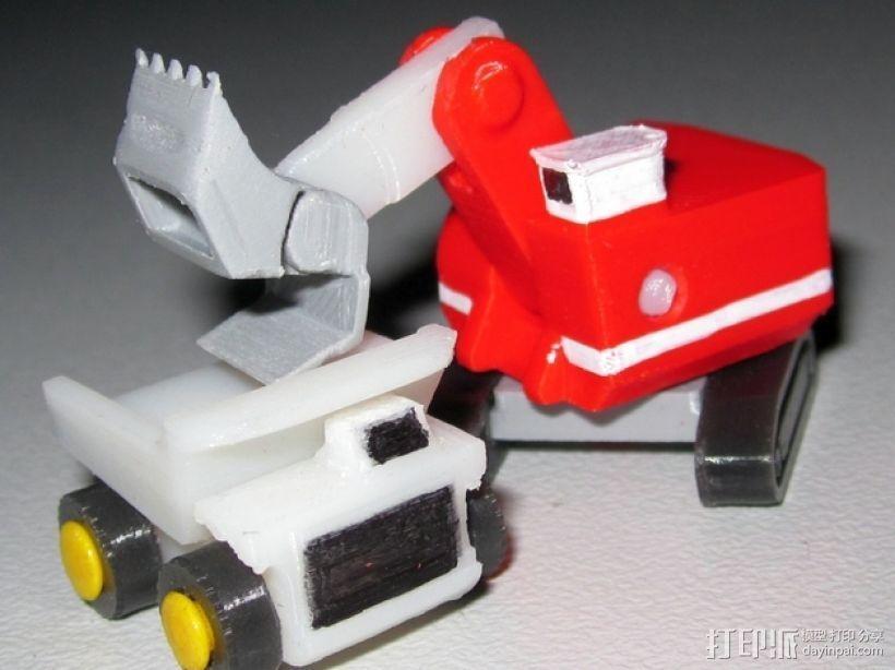 迷你挖掘机 3D打印模型渲染图