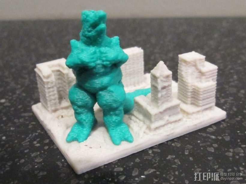 巨蜥袭击城市 模型 3D打印模型渲染图