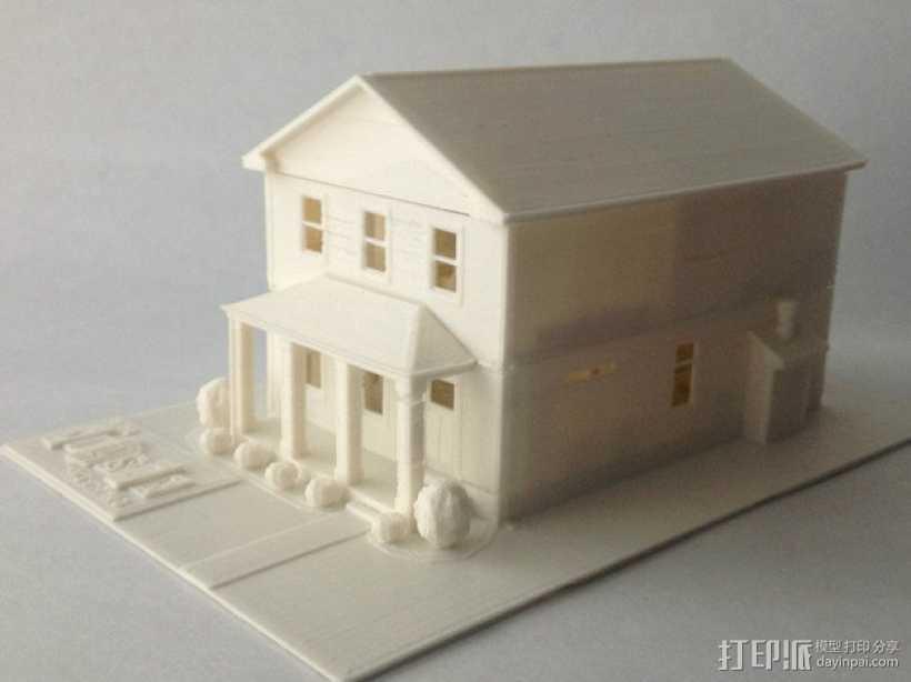 两层小楼 3D打印模型渲染图