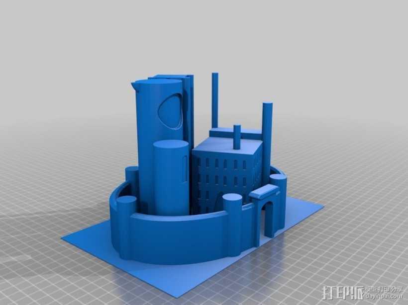 月亮 龙 城堡 3D打印模型渲染图