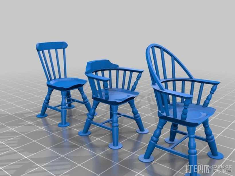 1:24温莎椅 3D打印模型渲染图