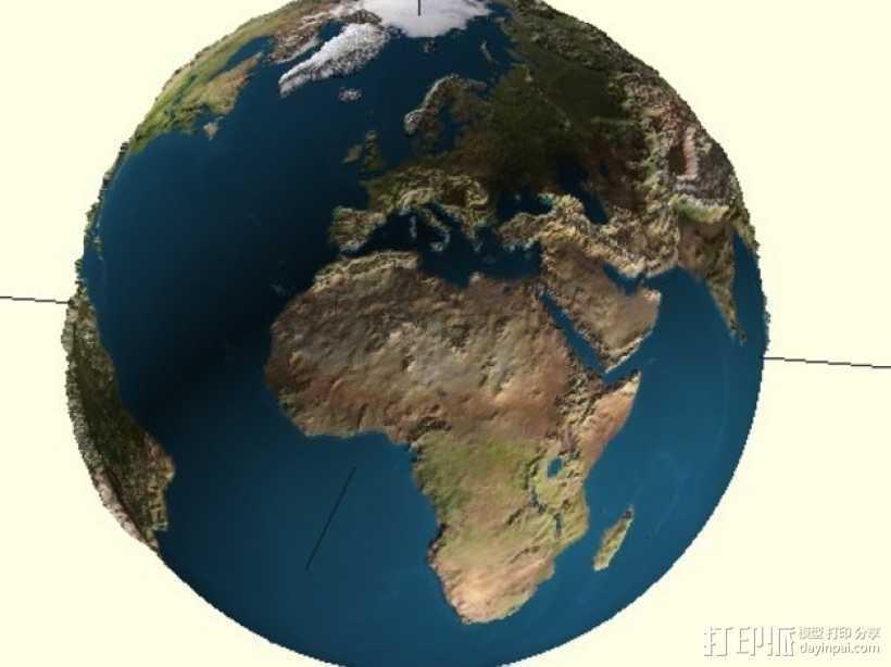 地球 地形图 3D打印模型渲染图