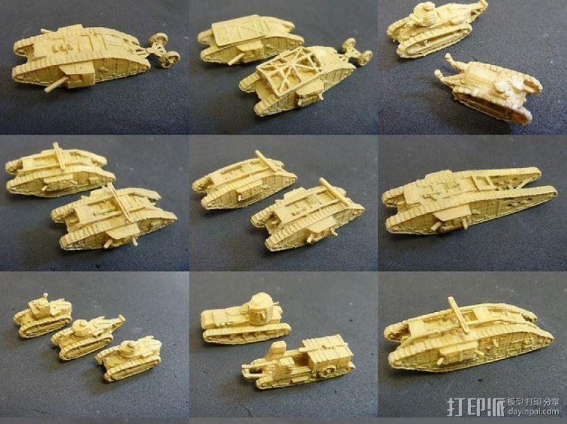 一战坦克 3D打印模型渲染图