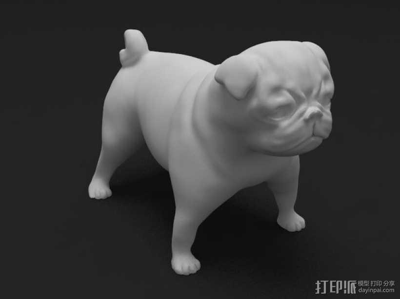 八哥犬 3D打印模型渲染图