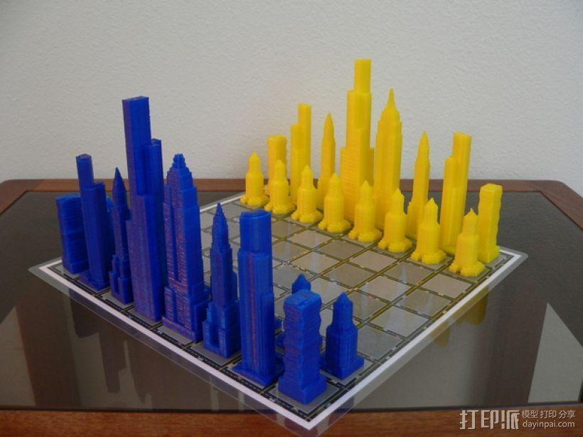 摩天大楼 象棋棋子 3D打印模型渲染图