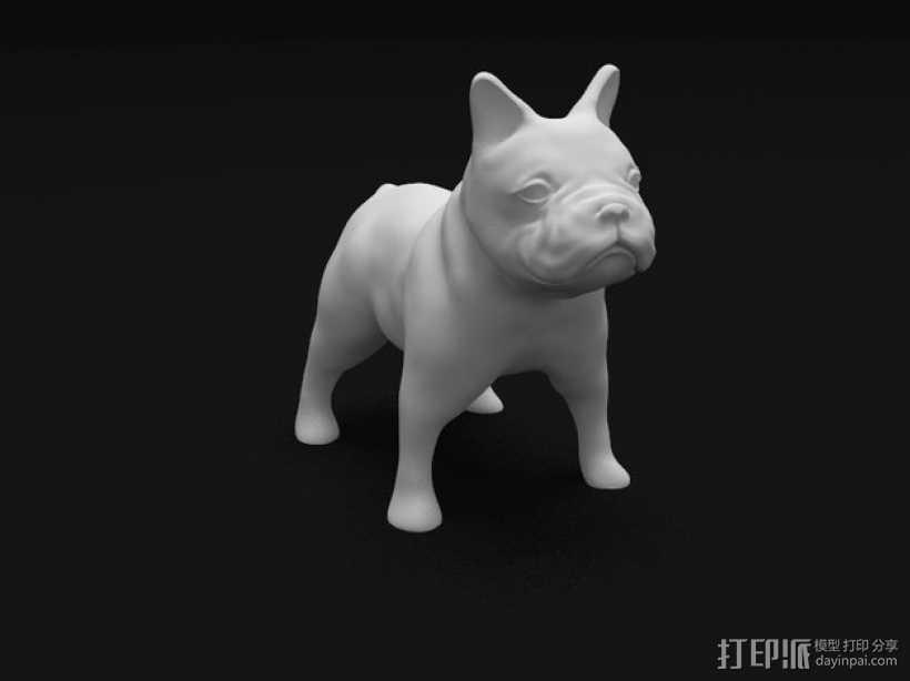 法国斗牛犬 3D打印模型渲染图
