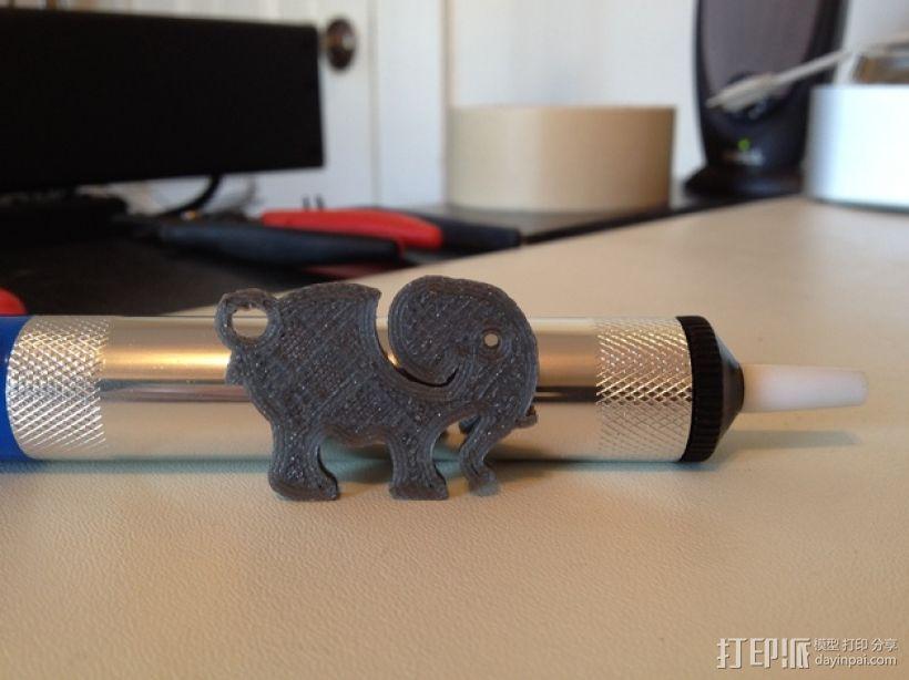 大象 钥匙扣 3D打印模型渲染图