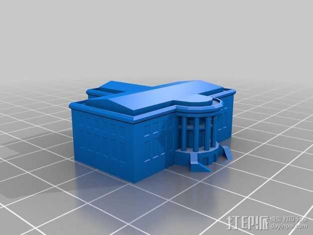 白宫 3D打印模型渲染图