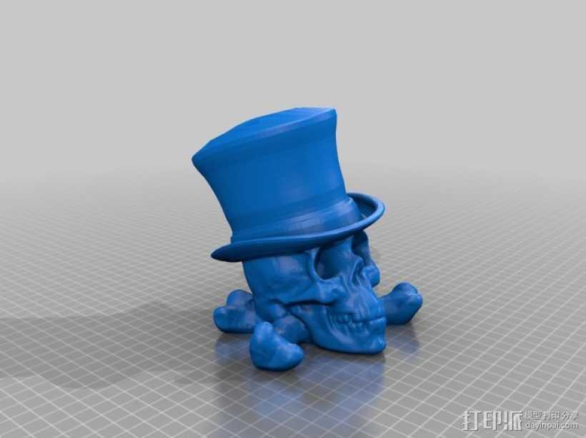 骷髅头 大礼帽 3D打印模型渲染图
