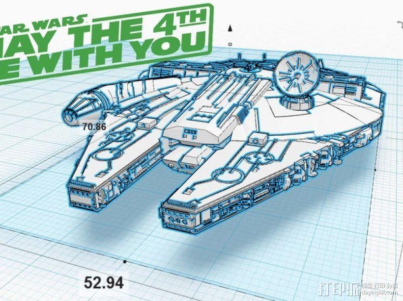 《星球大战》千年隼号宇宙飞船 3D打印模型渲染图