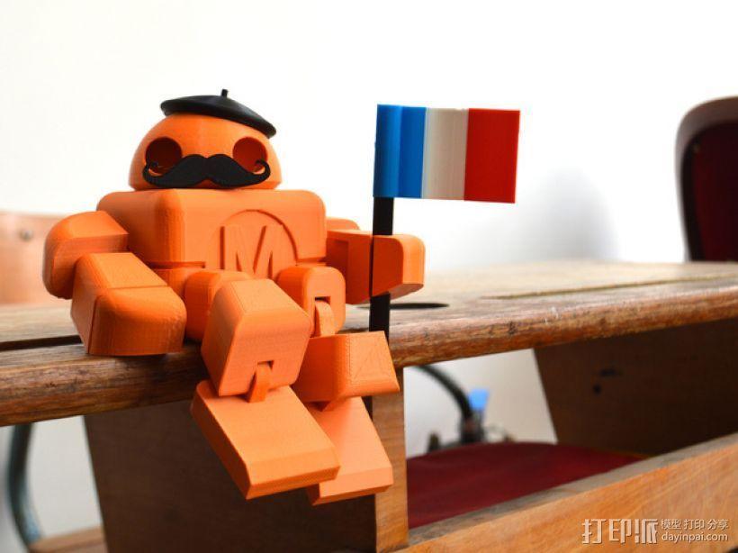 拿国旗的机器人 3D打印模型渲染图