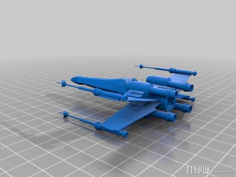 星际之战X翼战机 3D打印模型渲染图