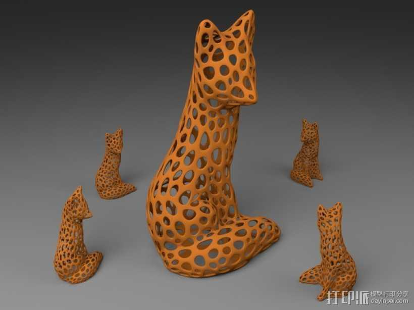 镂空狐狸 3D打印模型渲染图