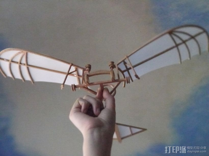 达芬奇扑翼机 3D打印模型渲染图