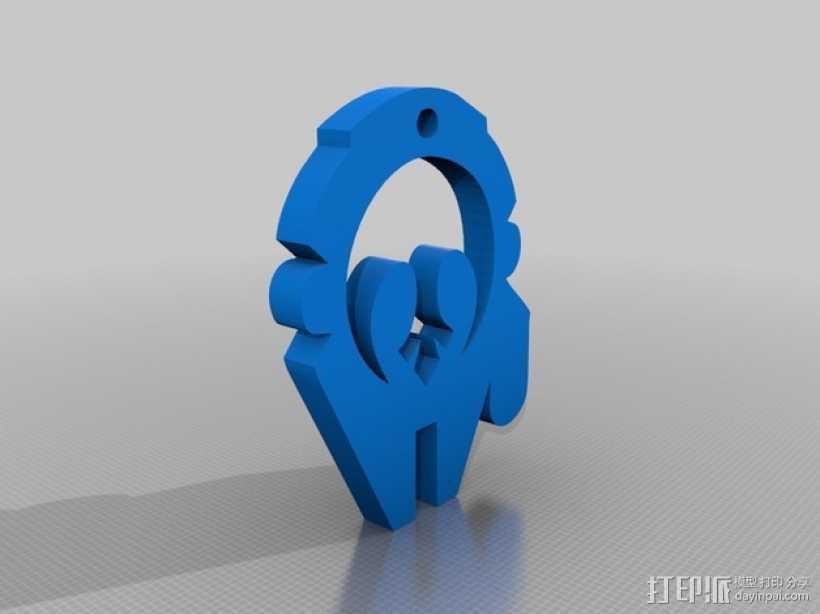 千年隼号飞船标志钥匙扣 3D打印模型渲染图