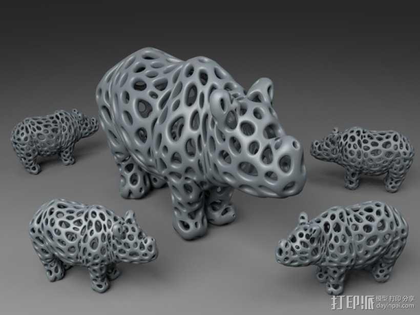 泰森多边形犀牛模型 3D打印模型渲染图