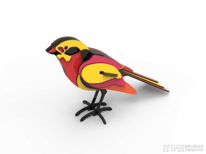 五彩小鸟 3D打印模型渲染图